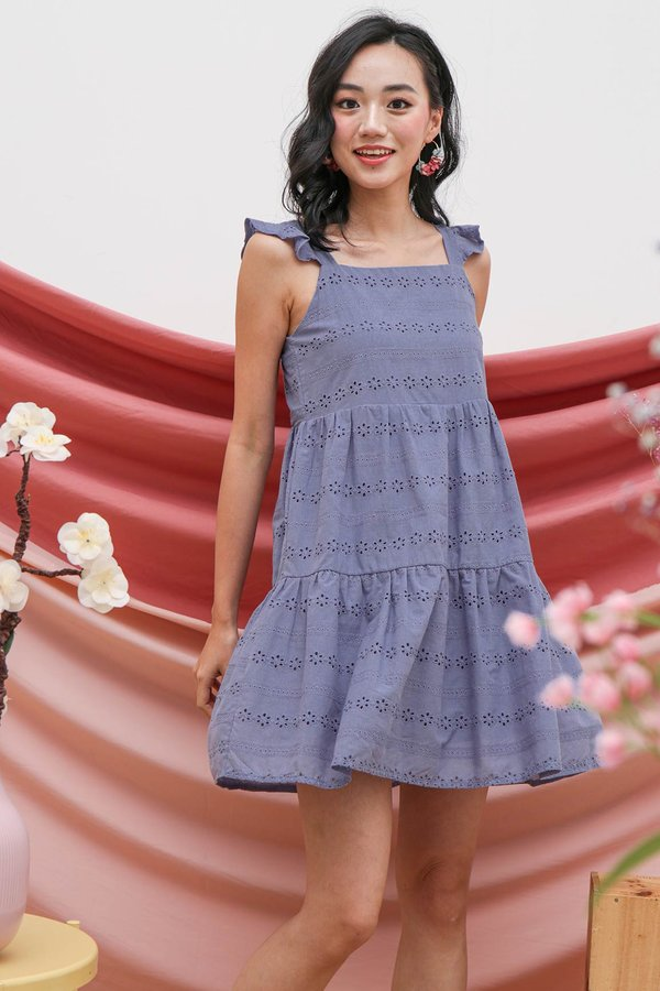 Whispering Meadow Eyelet Tier Babydoll Dress Steel Blue