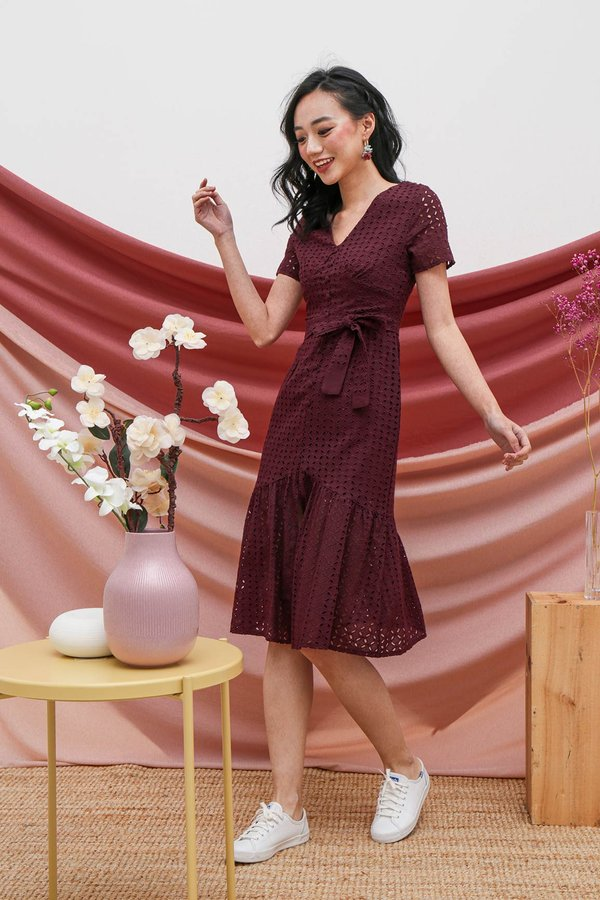 Buttoned Up Eyelet Whimsy Midi Dress Burgundy Red