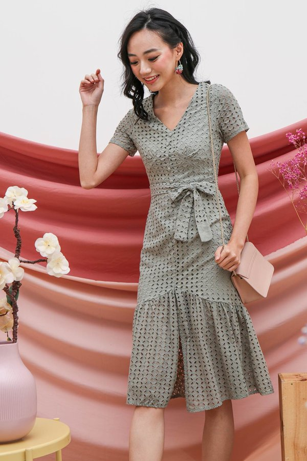 Buttoned Up Eyelet Whimsy Midi Dress Sage Green