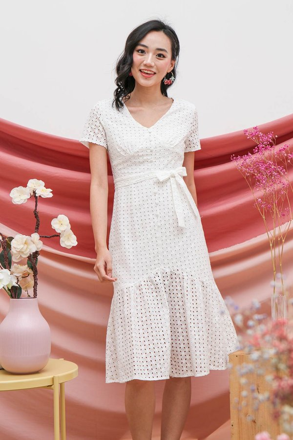 Buttoned Up Eyelet Whimsy Midi Dress White