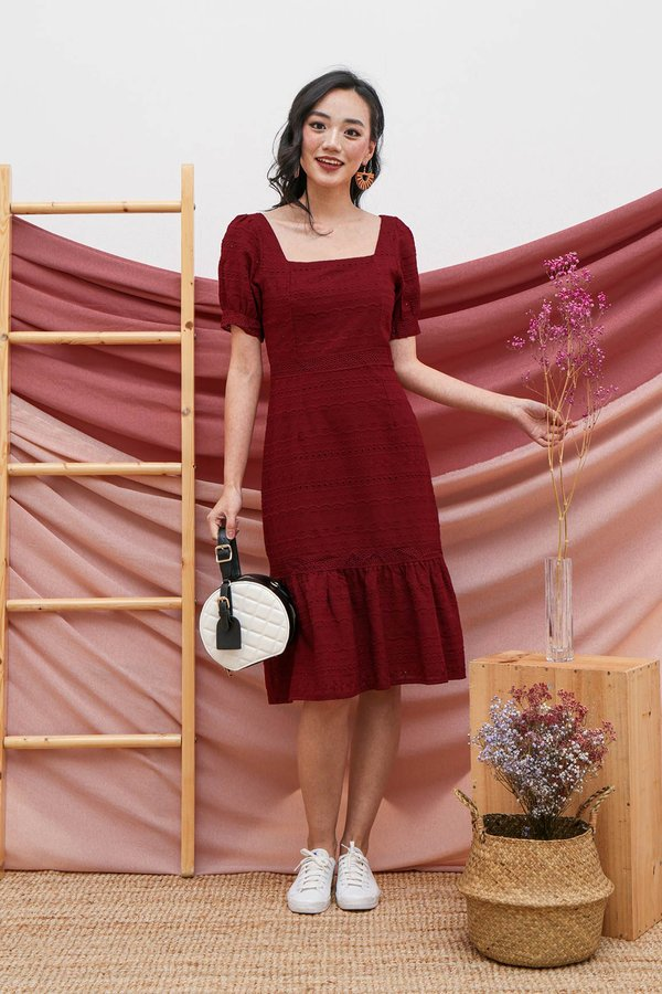Primed for Princess Eyelet Dropwaist Dress Burgundy Red