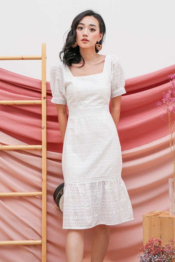 Primed for Princess Eyelet Dropwaist Dress White