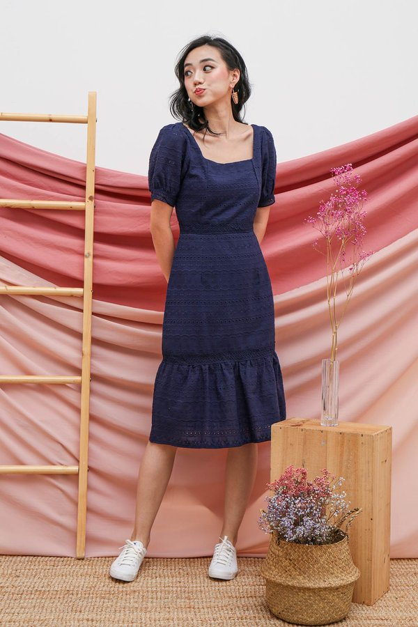 Primed for Princess Eyelet Dropwaist Dress Navy Blue