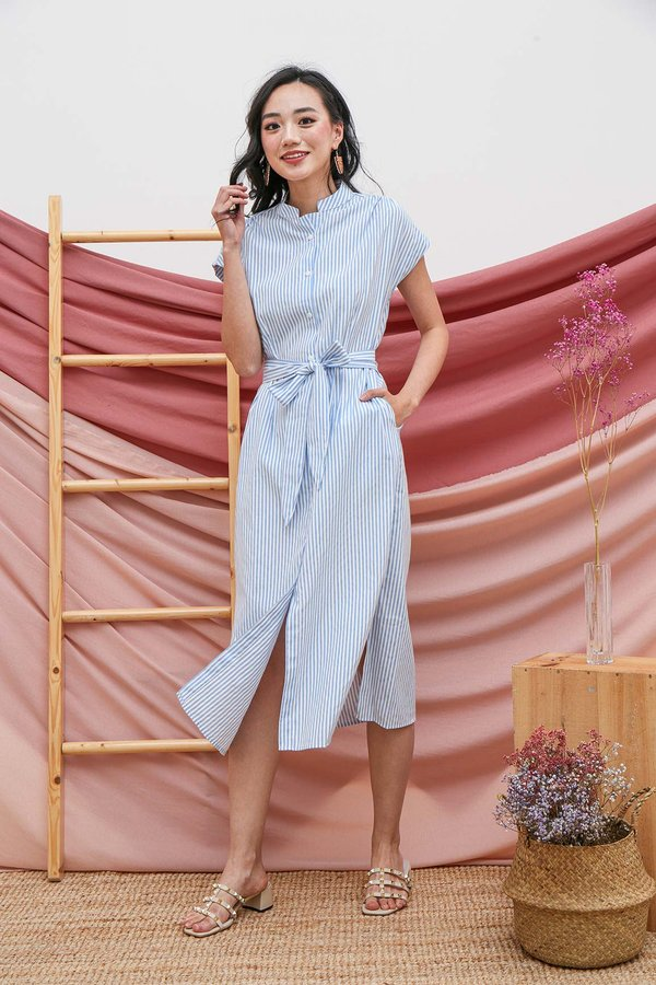 Shirt Up Smart Pinstripes Midi Shirt Dress