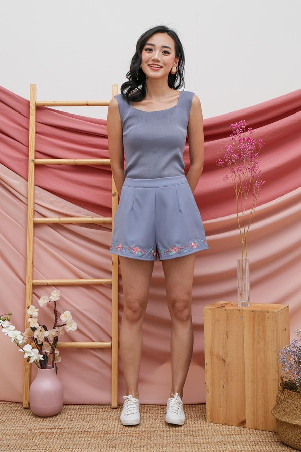 Seamlessly Angled Knit Top Steel Blue