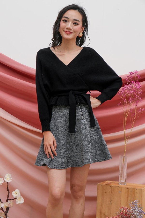 Luxe Wrapped Holiday Knit Top Black
