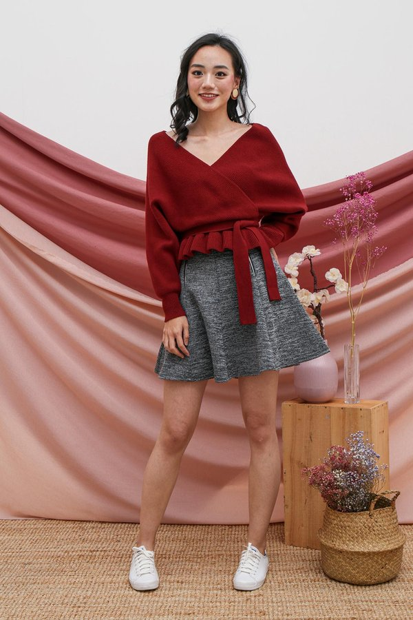 Luxe Wrapped Holiday Knit Top Burgundy Red
