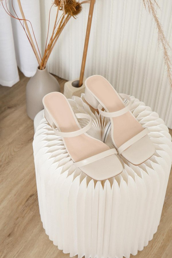 Simple Steps Ahead Strap Heels Cream