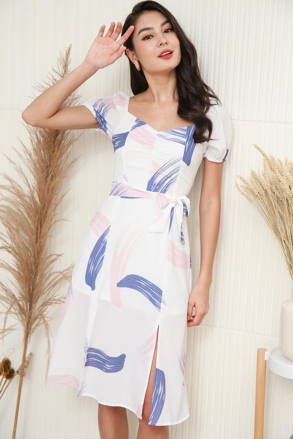 Multi Coloured Marvel Abstract Ruched Midi Dress Blue