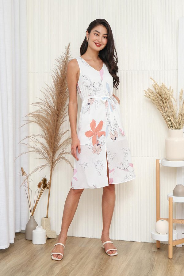 Seashells in Paradise Floral Tent Dress White
