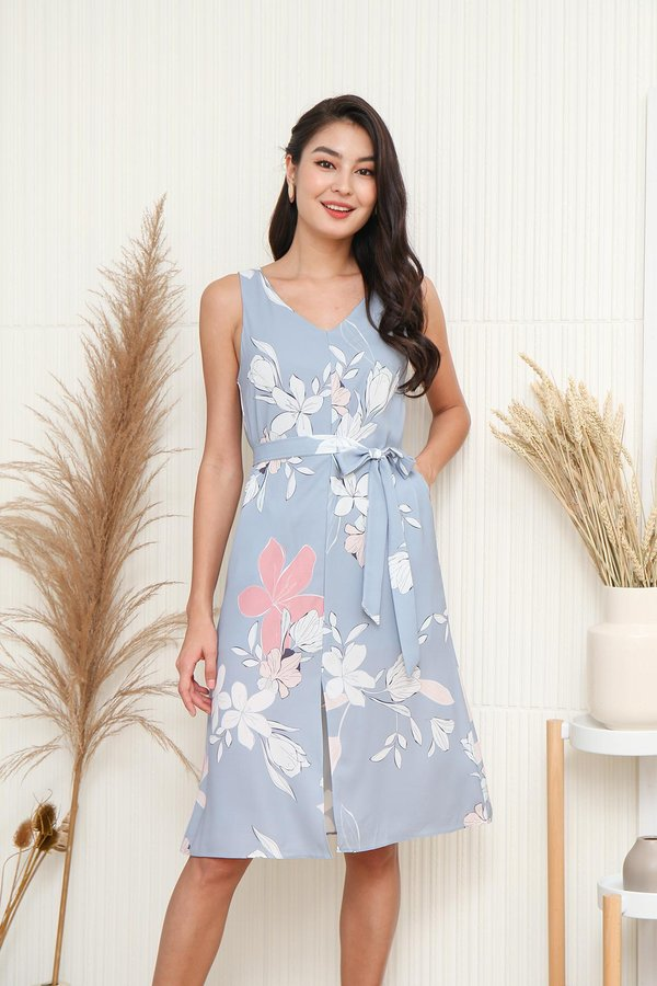 Seashells in Paradise Floral Tent Dress Blue Grey