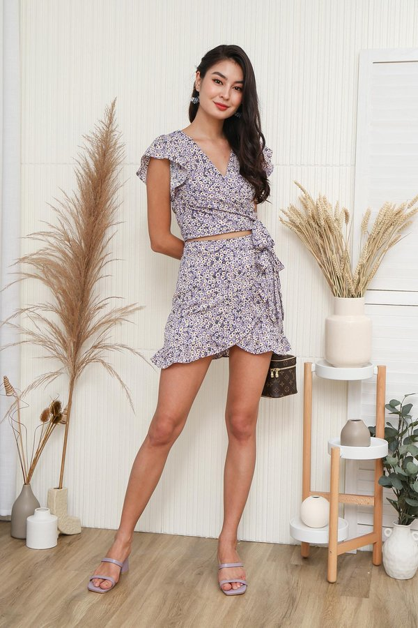 Flowerbeds of Daisies Wrap Tie Two Piece Set Lilac