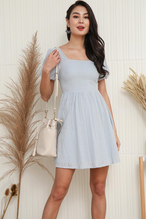 Nuanced Ripples Eyelet Puff Sleeve Dress Pale Blue