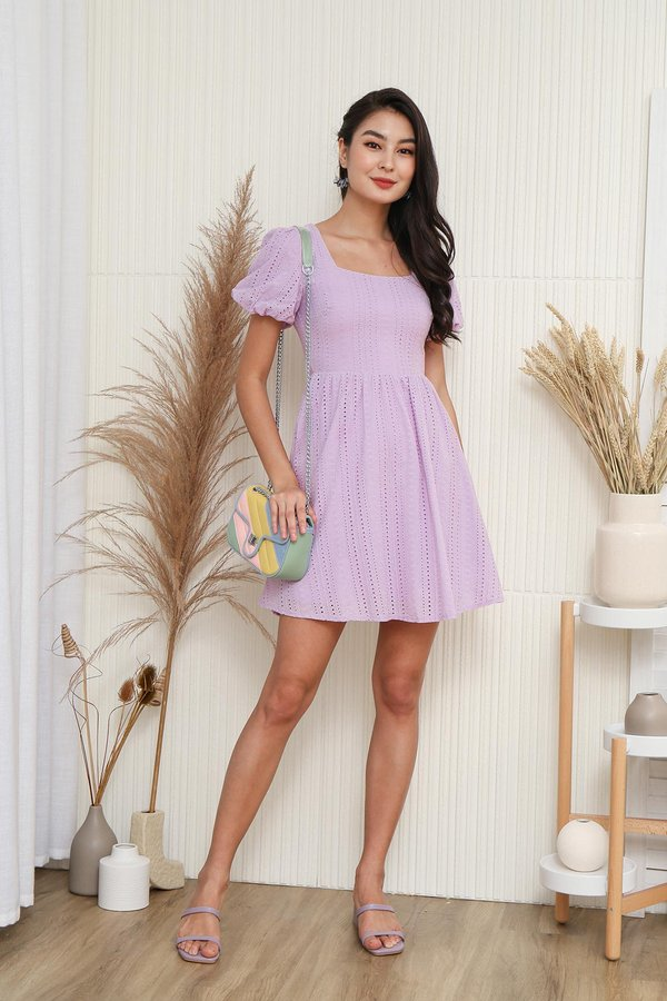 Nuanced Ripples Eyelet Puff Sleeve Dress Lilac