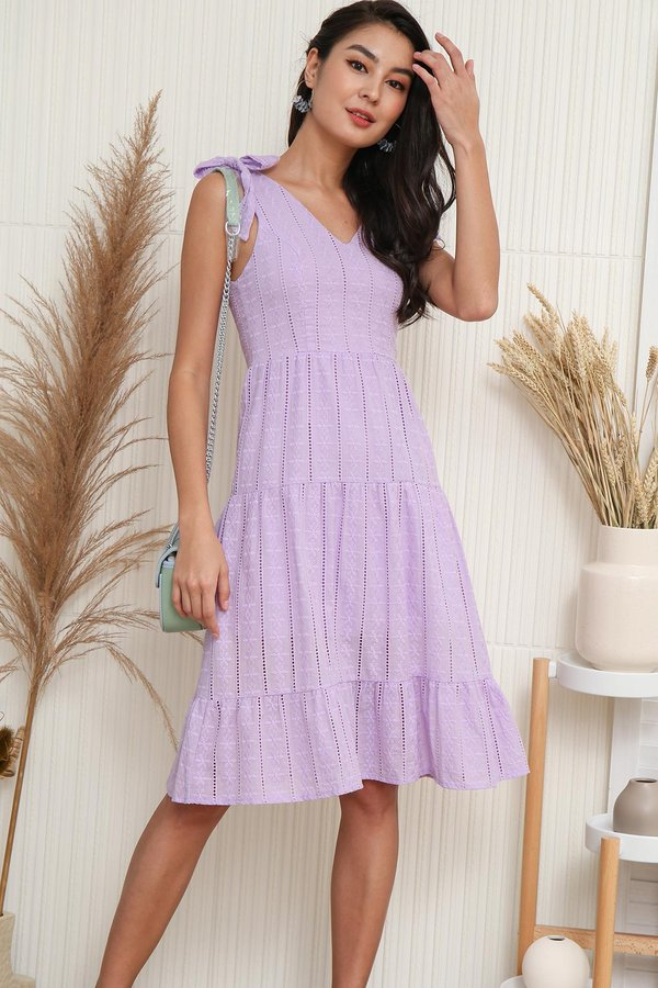 Tiers of Bygone Era Eyelet Swing Dress Lilac