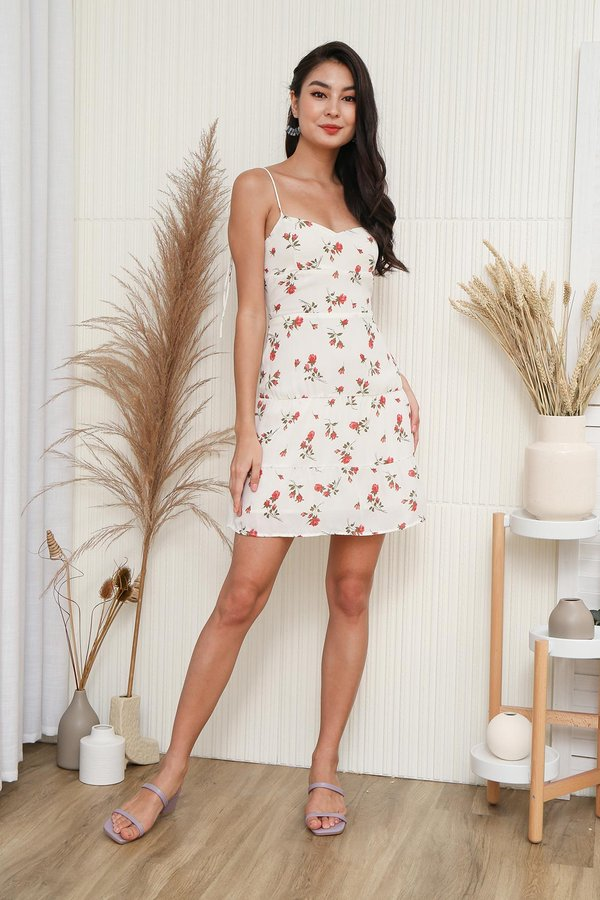 Peony for your Tiers Floral Tie Strap Dress