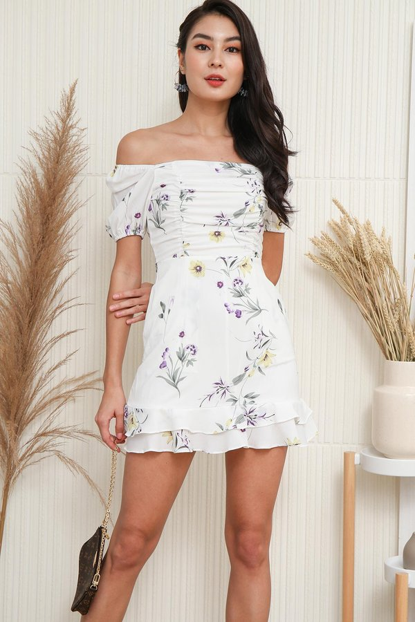 Ruching for Keeps Floral Dropwaist Dress White
