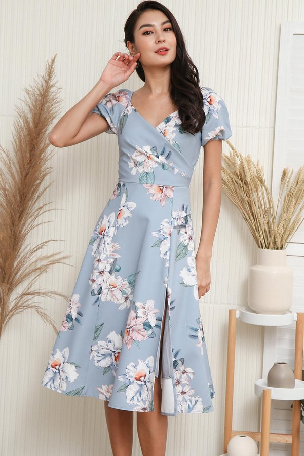 Budding Romance Floral Wrap Midi Dress Blue Grey