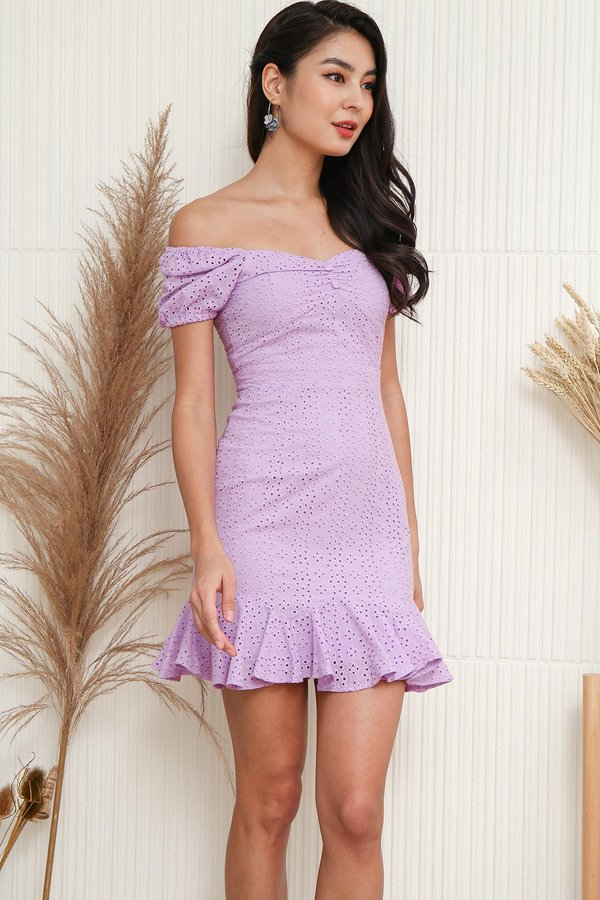 Farmhouse Whimsy Eyelet Puff Sleeve Dress Lilac