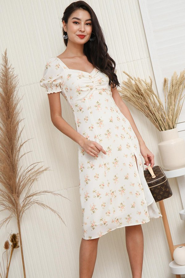 Warm Wafting Willows Floral Ruched Midi Dress