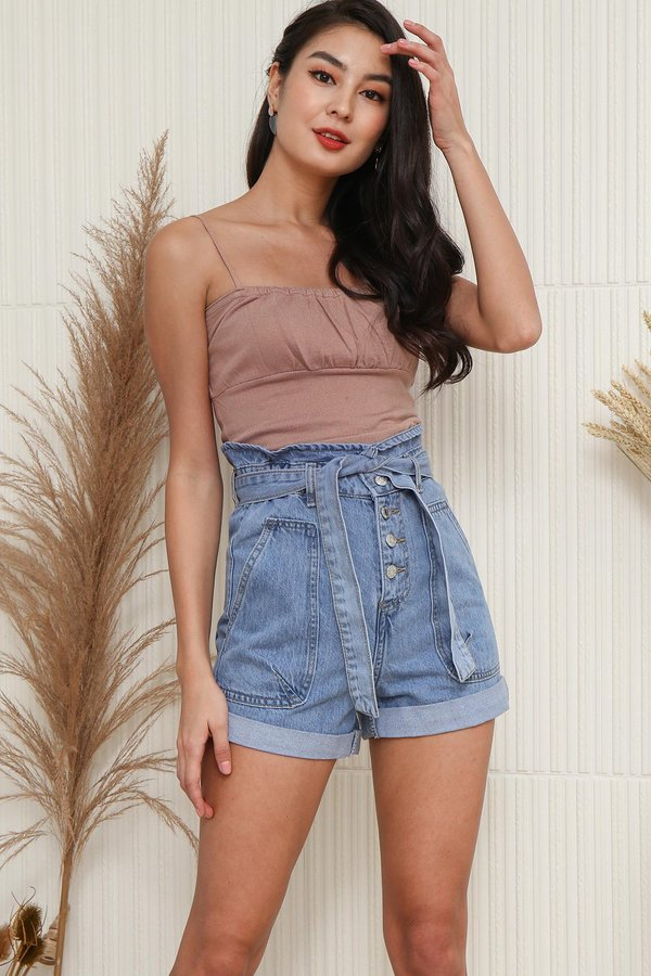 And Sew Forth Ruched Knit Crop Cami Top Nude Pink