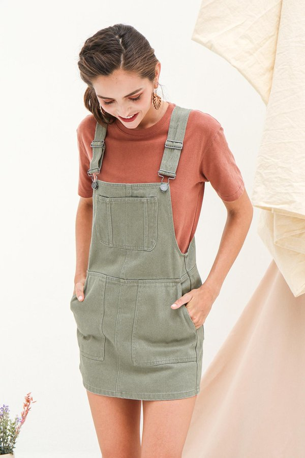 Unfettered Holidays Denim Dungaree Jumper Thyme Green