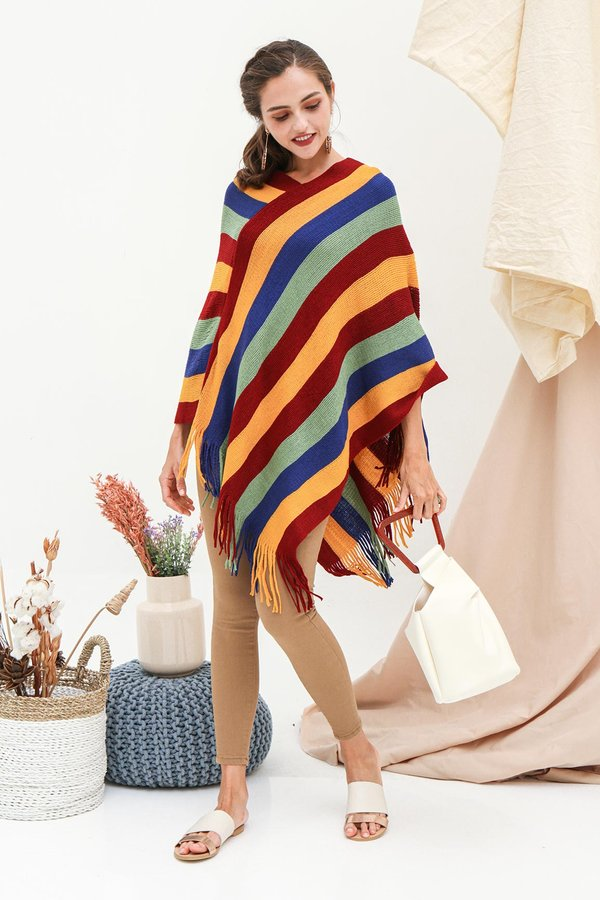 Far Flung Fringes Cape Pullover Knit Poncho Wrap Rainbow Stripes