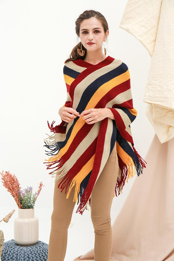 Far Flung Fringes Cape Pullover Knit Poncho Wrap Red Stripes