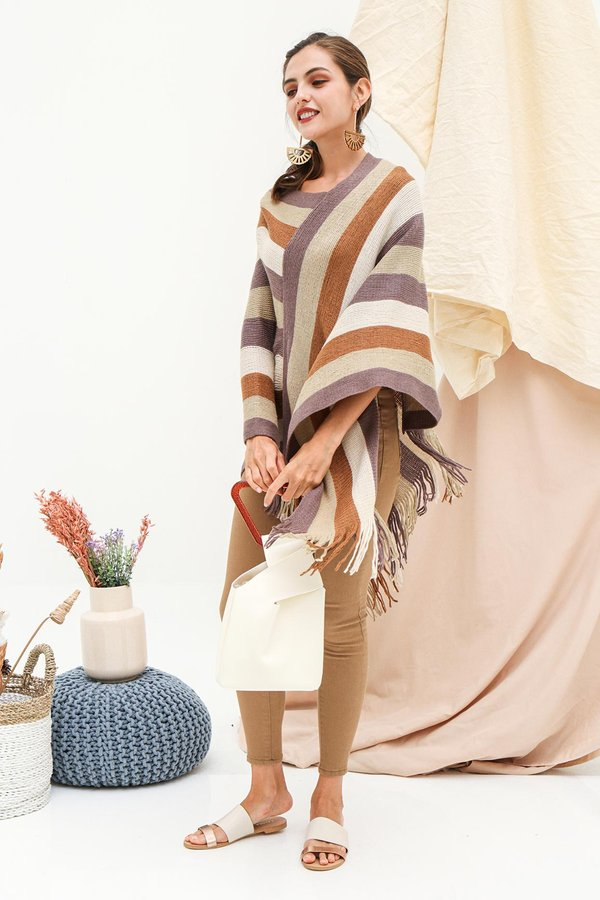 Far Flung Fringes Cape Pullover Knit Poncho Wrap Tan Stripes