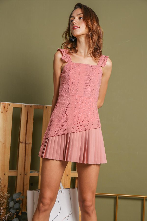 Eyelets Pretty Pleats Romper Dress Pink