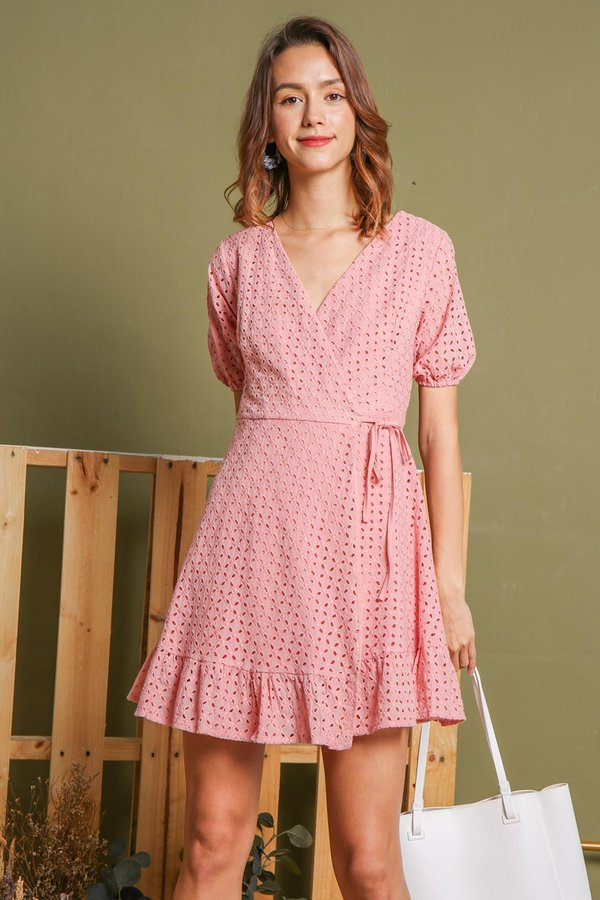 Stellar Starbursts Eyelet Wrap Dress Pink