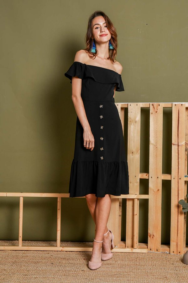 Buttons Be Free Midi Dress Black
