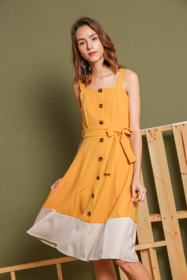 Colourblocking Buttons Midi Dress Marigold