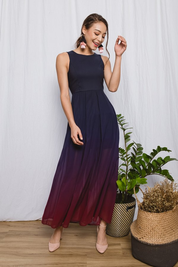 Gradient Grandeur Ombre Maxi Dress Dusk
