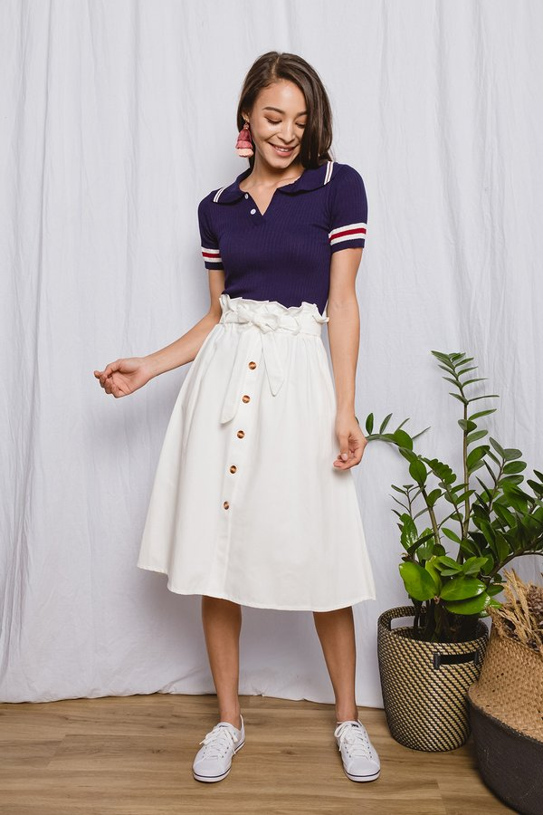 Businesslike Buttons Paperbag Skirt White