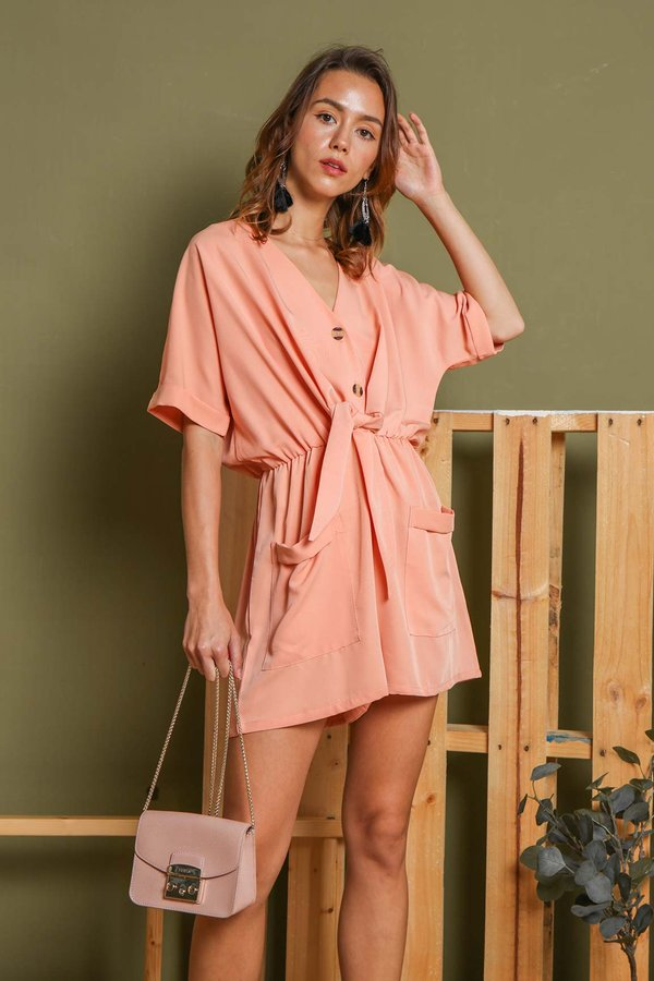 Roomy Romping Knotted Button Romper