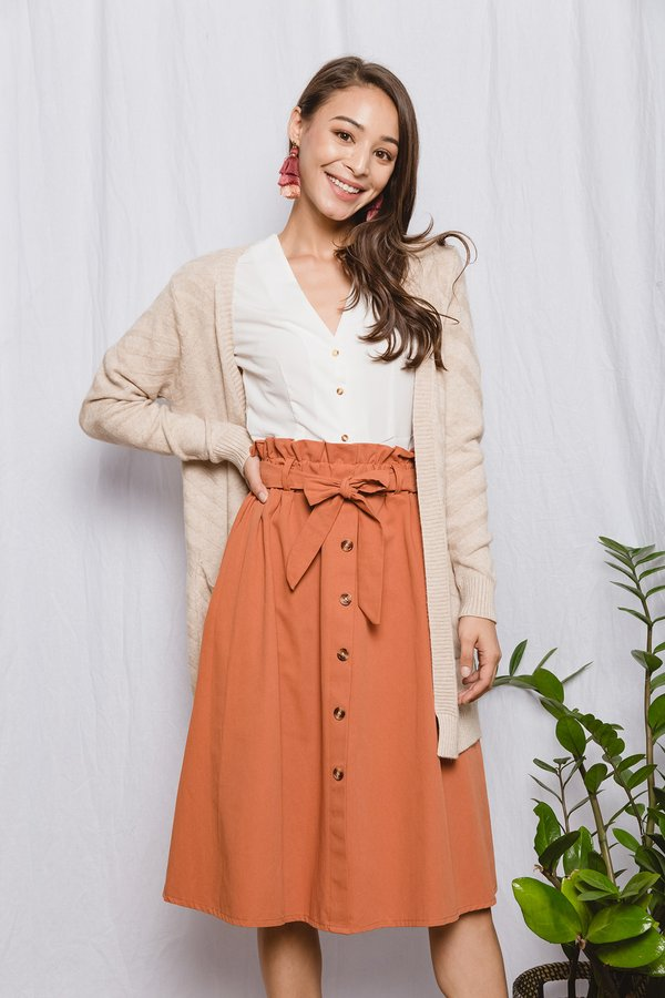 Businesslike Buttons Paperbag Skirt Rust