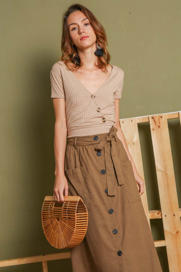 Buttons on the Side Ribbed Tee Almond
