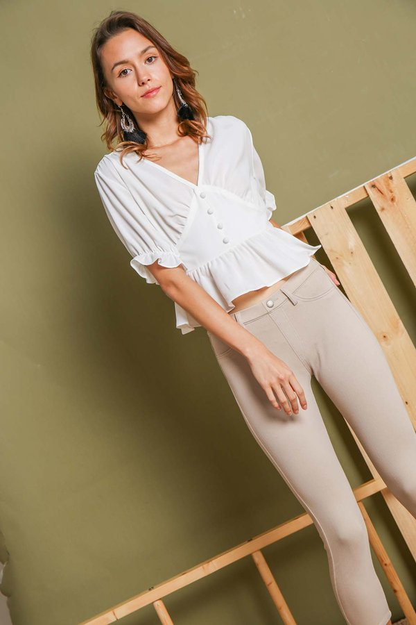 Buttoned Up Whimsy Blouse White