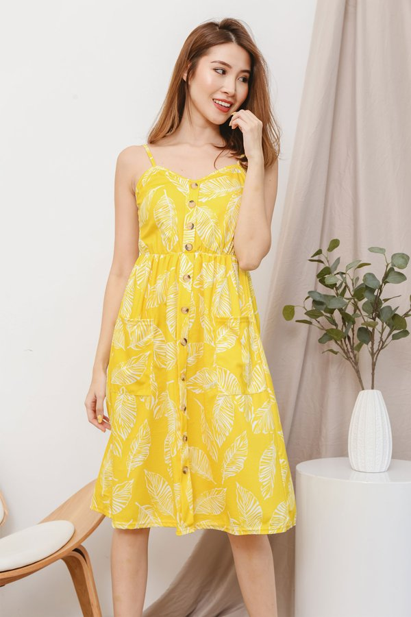Buttons Booster Summer Midi Dress Marigold Leaf