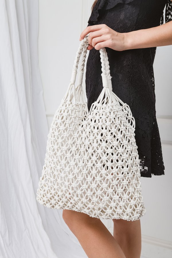 Netted Necessity Woven Bag White