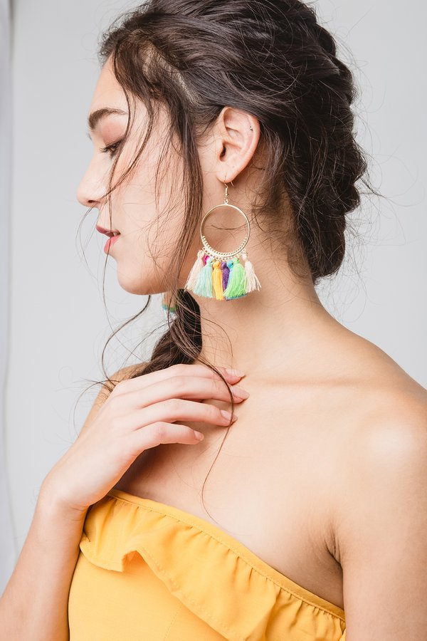 Hotness on Hoops Tassel Earrings Rainbow