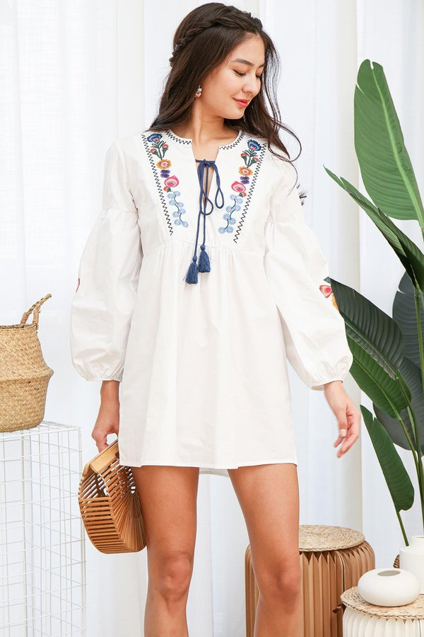 Homegrown Florals Embroidery Blouson Dress