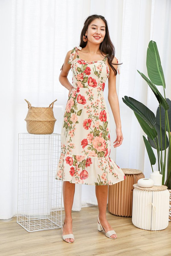 Blooming Bustier Dropwaist Midi Dress White Peonies