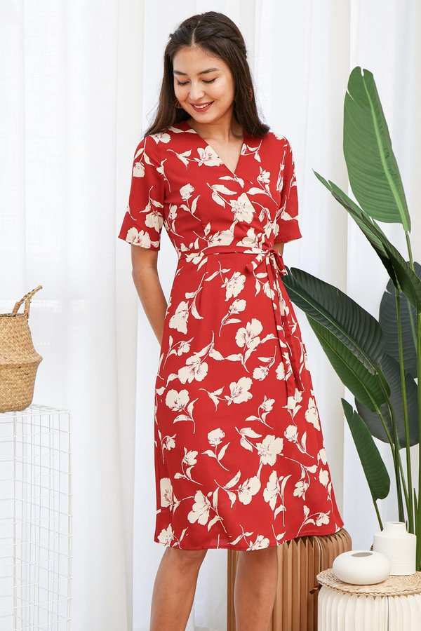 Homestay Glow Florals Wrap Midi Dress