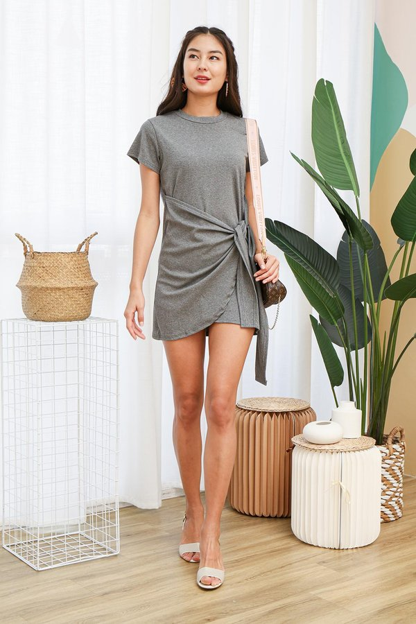 From Workout to Work Knotted Tee Dress Grey