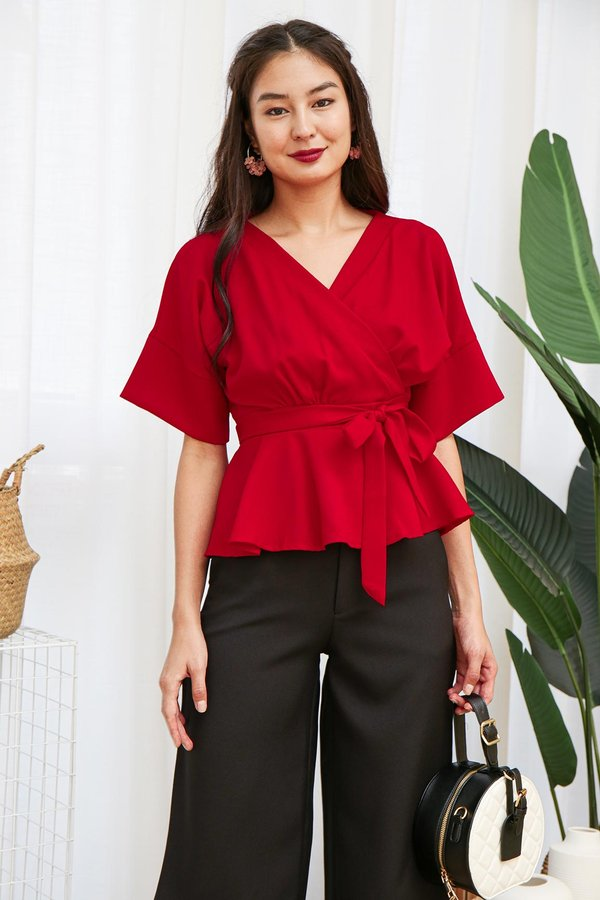 Business on Top Kimono Wrap Top Red