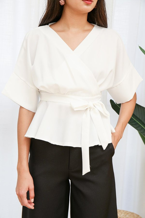 Business on Top Kimono Wrap Top White