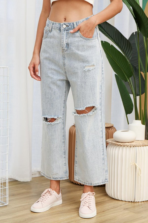 Ripped Reckoning Lightwash Denim Culottes
