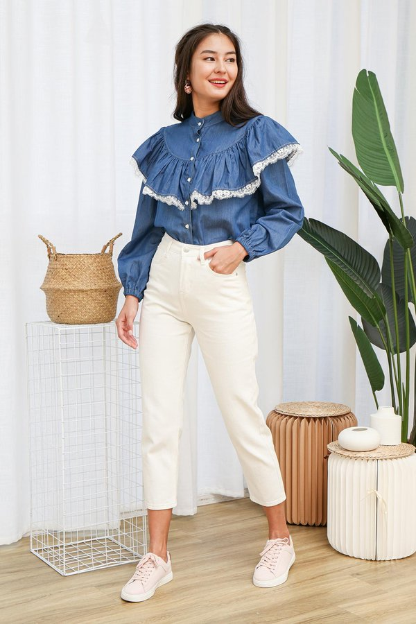 Ruffles Under One Roof Denim Blouse
